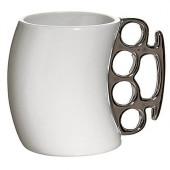 Кружка- кастет белая с серебристой ручкой