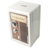 Копилка сейф с ключом Радио-ретро белая