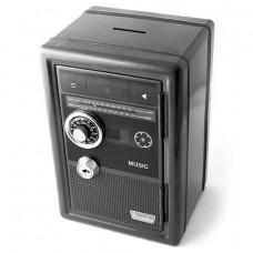 Копилка сейф с ключом Радио-ретро черная