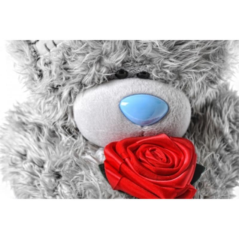 Днем рождения, красивые картинки с мишкой тедди и розами