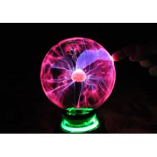 Светильник плазменный шар Тесла со светомузыкой 15см ХИТ!